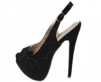 Дамски елегантни обувки на ток еко кожа черни
