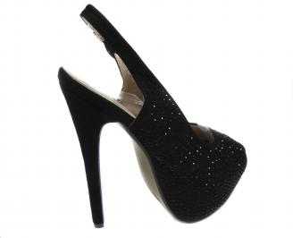 Дамски елегантни обувки на ток еко кожа черни 3