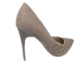 Дамски елегантни обувки еко велур бежови 3