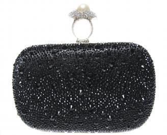 Абитуриентска чанта  черен сатен+камъни