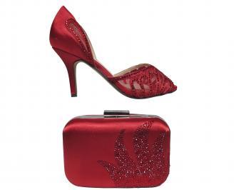 Комплект бална чанта и сандали сатен червени