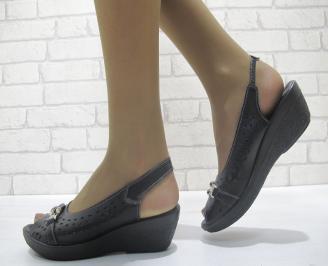 Дамски ежедневни сандали естествена кожа черни