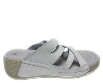 Дамски ежедневни сандали естествена кожа бели
