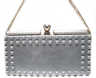 Абитуриентска чанта сребриста еко кожа
