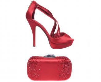 Комплект бална чанта и сандали еко кожа червени
