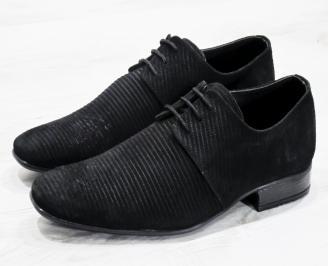 Мъжки официални обувки черни естествен велур