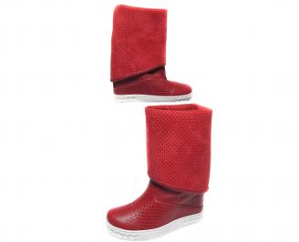 Дамски летни боти на платформа еко кожа червени