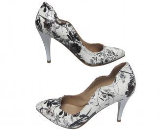 Дамски елегантни обувки еко кожа бяло/черно