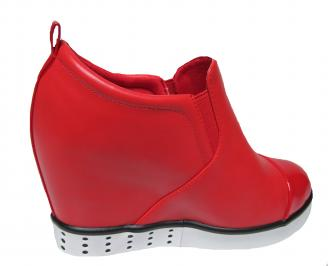 Дамски боти на платформа червени еко кожа 3