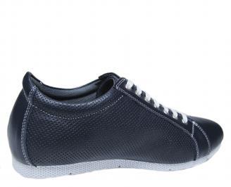 Мъжки спортно елегантни обувки естествена кожа тъмно сини 3