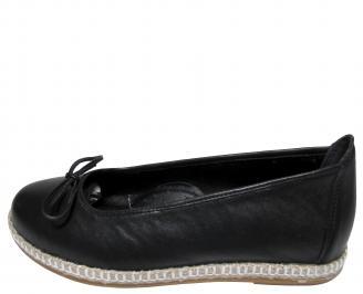 Дамски равни обувки черни естествена кожа