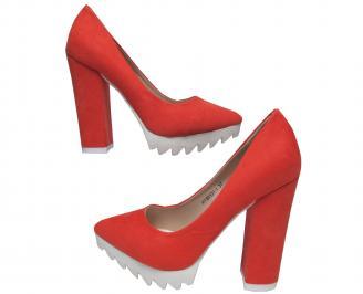 Дамски елегантни обувки еко велур корал