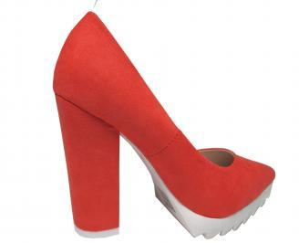Дамски елегантни обувки еко велур корал 3