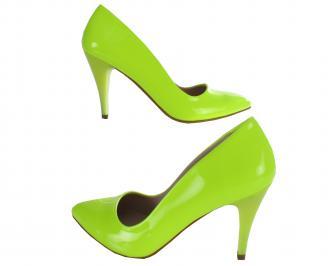 Дамски елегантни обувки еко кожа/лак зелени