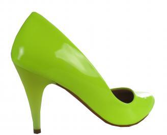 Дамски елегантни обувки еко кожа/лак зелени 3