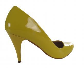 Дамски елегантни обувки еко кожа/лак жълти