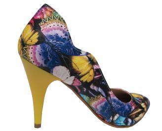 Дамски елегантни обувки  еко кожа на цветя