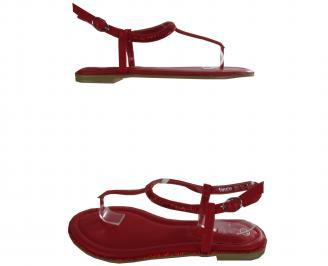 Дамски равни сандали еко кожа червени