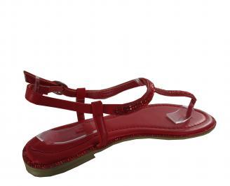 Дамски равни сандали еко кожа червени 3