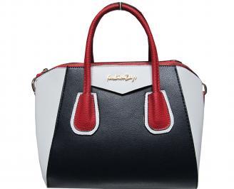 Дамска чанта еко кожа бяло/синьо/червено