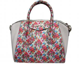 Дамска чанта еко кожа/текстил на цветя