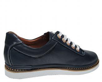 Дамски равни обувки естествена кожа тъмно сини