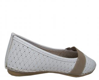 Дамски равни обувки еко кожа бели