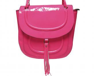 Дамска чанта еко кожа/лак розова