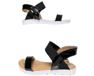 Дамски равни сандали еко кожа/лак черни