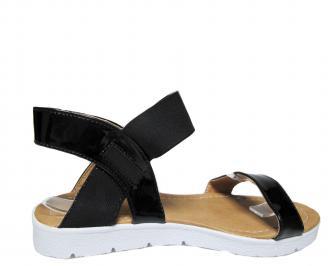 Дамски равни сандали еко кожа/лак черни 3