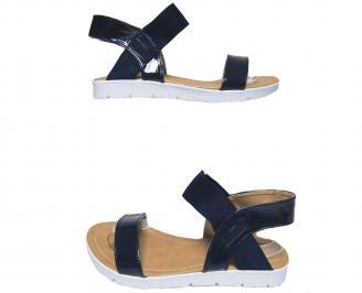 Дамски равни сандали еко кожа/лак тъмно сини