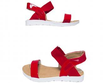 Дамски равни сандали еко кожа/лак червени