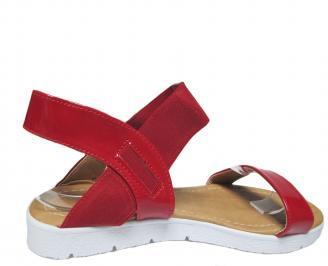 Дамски равни сандали еко кожа/лак червени 3