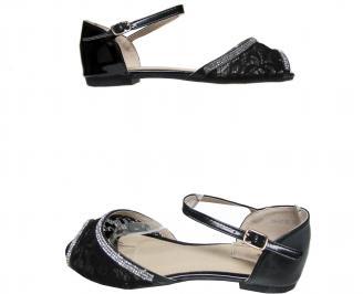 Дамски равни сандали еко кожа/дантела черни