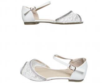 Дамски равни сандали еко кожа/дантела бели