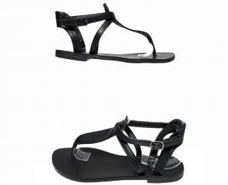 Дамски равни сандали еко кожа черни