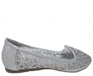 Дамски равни обувки еко кожа сребристи