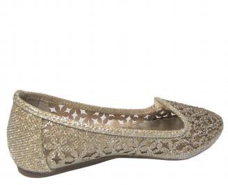 Дамски равни обувки еко кожа златисти