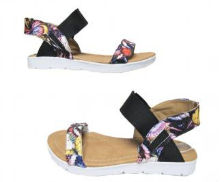 Дамски равни сандали еко кожа шарени