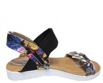 Дамски равни сандали еко кожа шарени 3