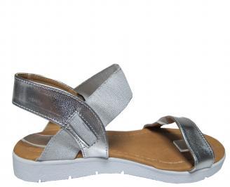Дамски равни сандали еко кожа сребристи 3