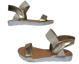 Дамски равни сандали еко кожа златисти