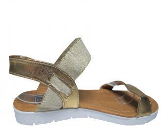 Дамски равни сандали еко кожа златисти 3