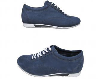 Мъжки спортно елегантни обувки набук тъмно сини