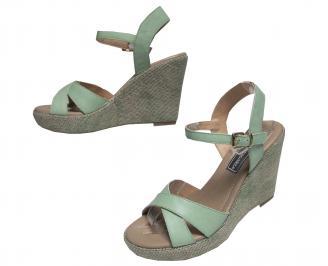 Дамски сандали на платформа естествена кожа зелени