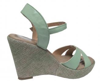 Дамски сандали на платформа естествена кожа зелени 3