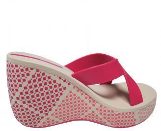 Дамски силиконови чехли на платформа  Ipanema розови 3
