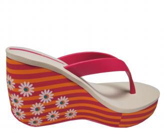 Дамски силиконови чехли на платформа Ipanema шарени 3