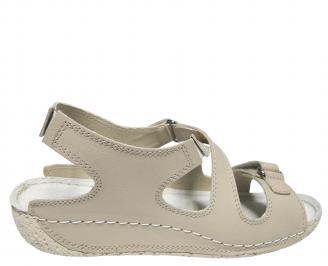 Дамски равни сандали естествена кожа бежови 3
