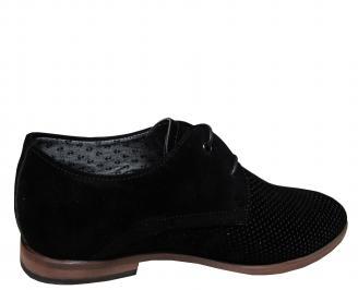 Мъжки спортно елегантни обувки  набук черни 3